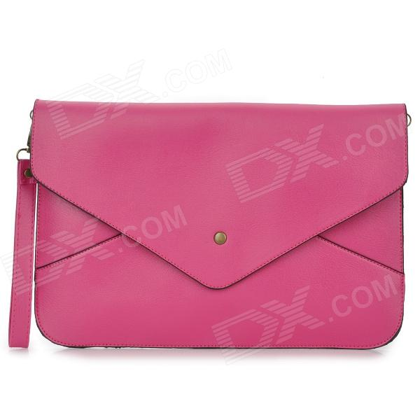 11808 Fashion PU Tote Bag w/ Strap for Women - Deep Pink