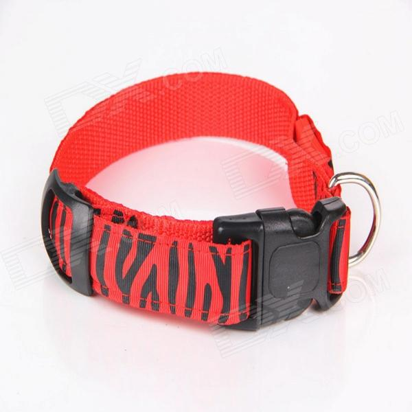 Leopard Grain Adjustable Reflective Light LED Strip Pet Safety Collar - Red (M)