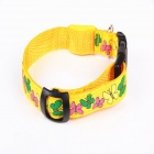 New Style Butterfly Adjustable Reflective LED Strip Pet Safety Collar - Yellow (L)