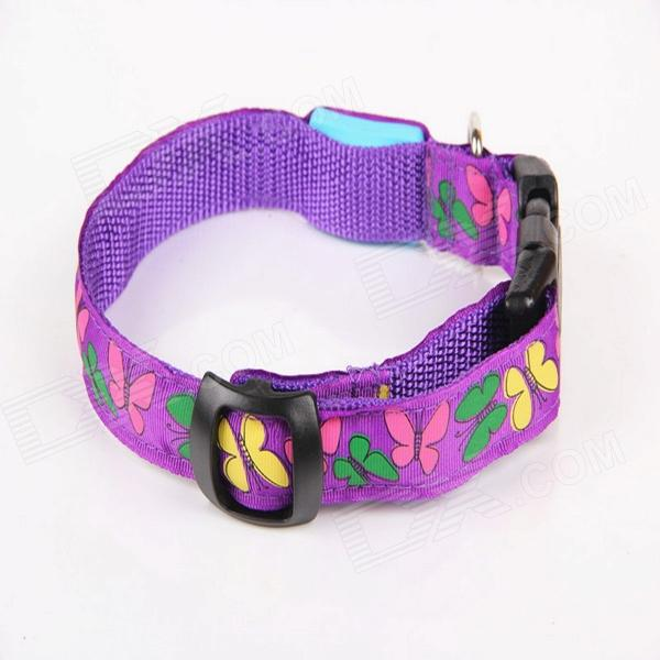 New Style Butterfly Adjustable Reflective LED Strip Pet Safety Collar - Purple (M)