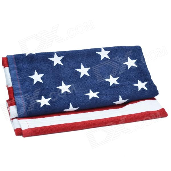 American Flag Absorbent Superfine Cotton Printing Bath Towel - Red + White + Blue(140 x 72cm)