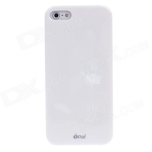 ipai HD3088 Fashionable 3D Lotus Protective ABS Back Case for Iphone 5 - White