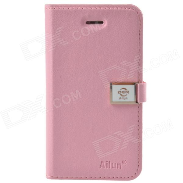 купить HELLO DEERE Ailun Series Protective PU Leather Case w/ Card Slot / Strap for Iphone 4 / 4s - Pink недорого