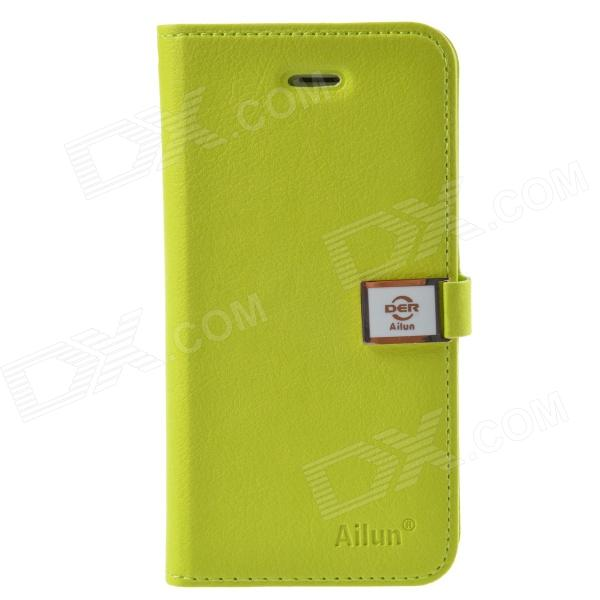 HELLO DEERE Ailun series PU Leather Case Cover w/ Card Slot / Strap for Iphone 5 / 5s - Blue Green simple plain flip open pu leather case w card slot for iphone 5s black