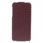 SAYOO 2408 Crocodile Pattern Vertical Open Protective PU Leather Case Cover for Iphone 5 - Brown