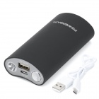 BP Smiling Face 5600mAh Portable Mobile Power Source Bank w/ LED for Iphone + More - Black + Grey