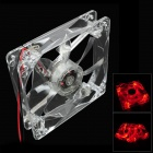 WT-001 4-LED Red Light 635~700nm 3-Pin Computer Machine Box Cooling Fan - Transparent (12cm)