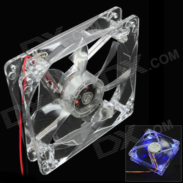 WT-001 4-LED Light Blue 450 ~ 490 nm à 3 broches ordinateur machine Box Ventilateur - Transparent (12cm)