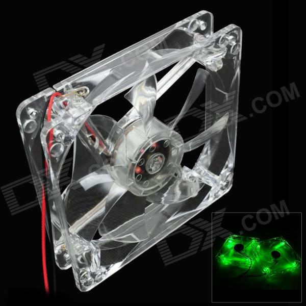 WT-001 4-LED Green Light 490~560nm 3-Pin Computer Machine Box Cooling Fan - Transparent (12cm) fshipping 3 gang 1 way 2pcs lot 1pc switch 1pc remote control champagne color wall switch glass touch hot sales tempering glass
