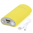 BP Smiling Face 5600mAh Portable Mobile Power Source Bank w/ LED for Iphone + More - Yellow + Grey
