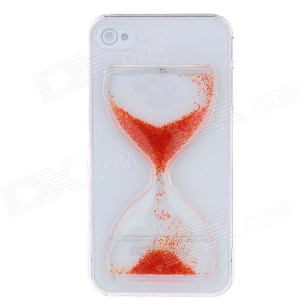 BEST Creative Sand Timer Style Protective Plastic Back Case for Iphone 4 - Transparent + Orange