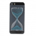BEST Creative Sand Timer Style Protective Plastic Back Case for Iphone 5S - Transparent + Blue