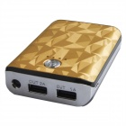 6000mAh Dual USB Mobile Power Quelle Bank für PSP / Sony / Samsung w / LED-Anzeige - Golden + Weiß