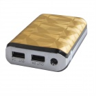 6000mAh Dual-USB Mobile Power Source Bank for PSP / Sony / Samsung w/ LED Indicator - Golden + White