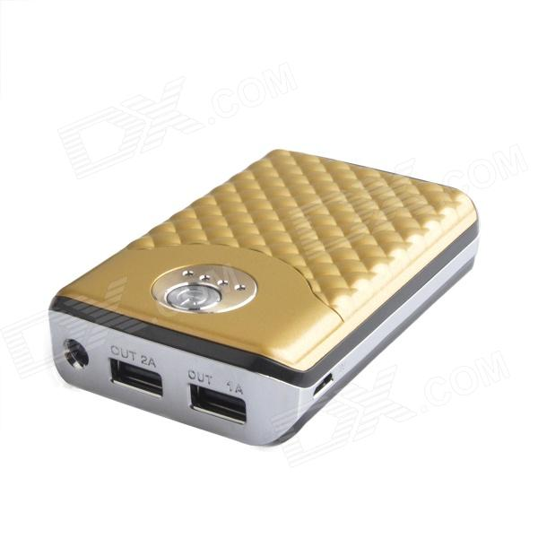 6000mAh Outdoor Dual-USB Power Source Bank w/ LED Indicator for GPS / Iphone + More - Golden + White portable universal dual usb 5v 6000mah li ion battery power bank white green