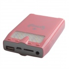 10000mAh Rechargeable External Battery Power Source Bank w/ LED / MP3 Player / Download - Pink