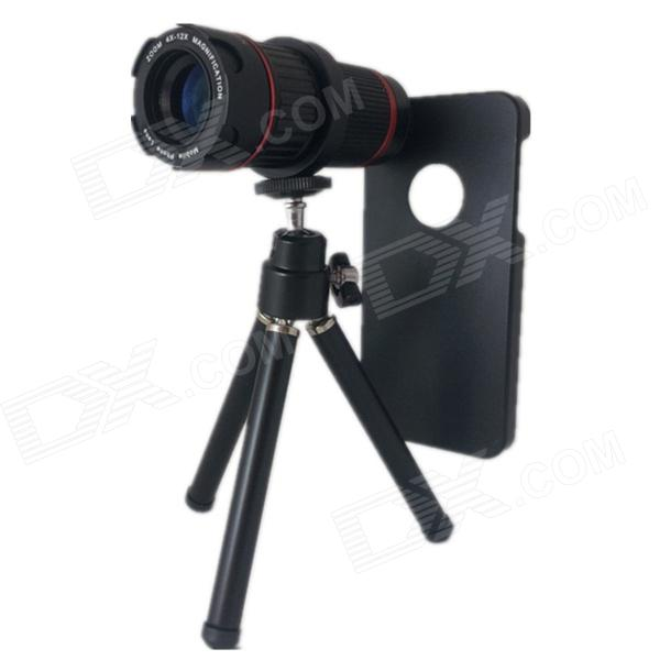 4~12X Zoom Microscope Lens w/ TrIpod for Iphone 5 / 5s / 5c - Black 100x zoom led digital microscope lens case w clip for iphone ipad cellphone tablet black