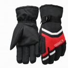 Fashionable Men's Riding Windproof And Warm Gloves - Black + Red (L / Pair)