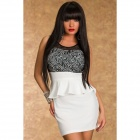 LC2914-1 Terrific Paisley Lace Peplum Dress - White