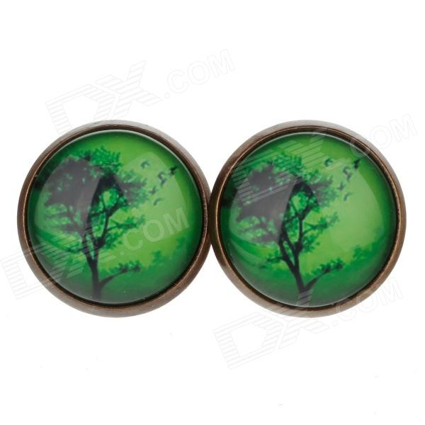 Tree Pattern Ancient Palace Bronze Ear Studs - Green + Black (1 Pairs)