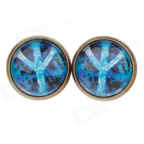 Crotch Pattern Ancient Palace Bronze Ear Studs - Blue (1 Pair)