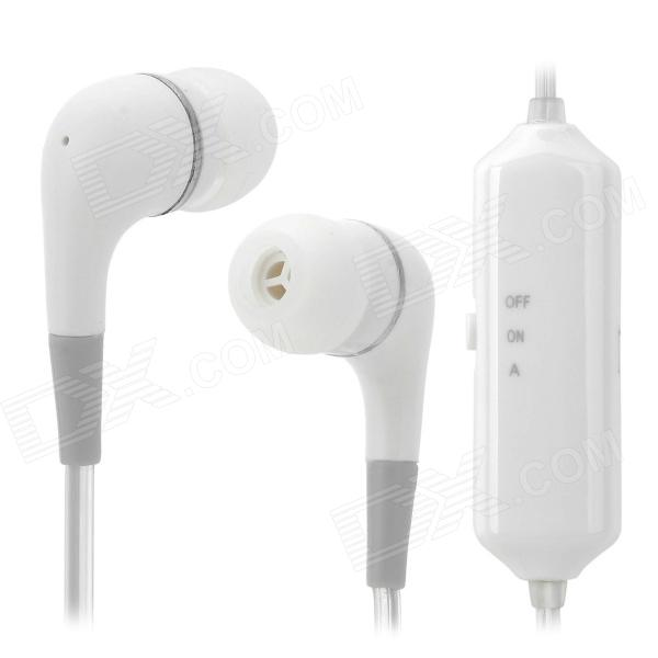 SHW427 LED Green Light  In-ear 3.5mm Earphone w/ Microphone - White (120cm)