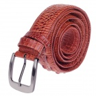 Stylish Alligator Pattern Men's Cow Split Leather Zinc Alloy Pin Buckle Belt w/ Zipper - Brown