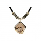 Fashionable Rose And Rhinestone Pattern Pendant Sweater Chain - Black + Multicolored