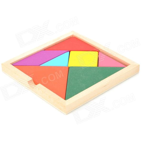 Jiahui Wooden Tangram Puzzle Educational Toy - Red + Green coeus 3d wooden puzzle the beautiful world the wedding chapel educational games for kids 3d puzzles for adults