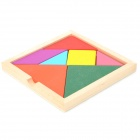 Wooden Tangram Puzzle Educational Toy - Red + Green