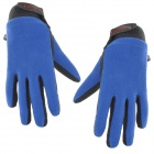 Emintribe Outdoor Anti-slip Full-Finger Fleece Gloves - Deep Blue + Black (Size L)