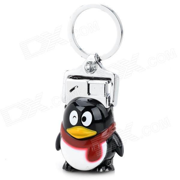 Cute QQ Penguin Style Butane Keychain Lighter - White + Black chili pepper style zinc alloy butane gas lighter green