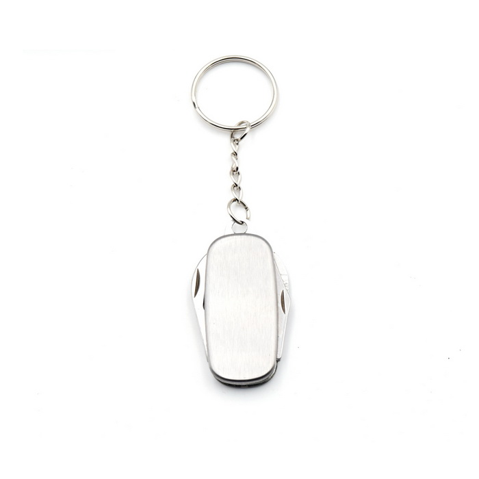 Convenient Multifunctional Keychain w/ Knife & Bottle Opener - Silver
