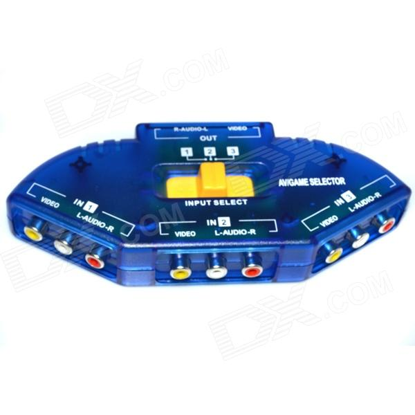 Fscable 3-Port AV Audio-Video Signal Switcher for DVD / VCD / TV Game VCR Station - Blue видеодиски нд плэй 28 панфиловцев dvd video dvd box