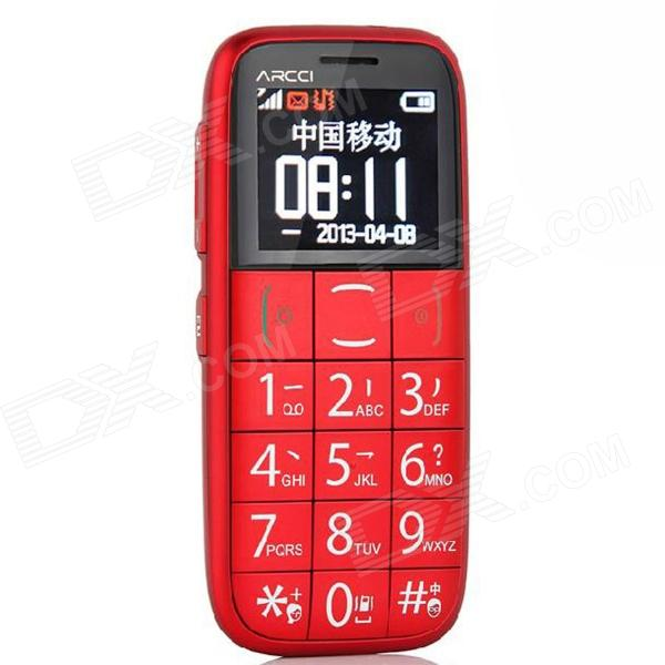 "ARCCI S728S 1.77"" Bar Phone w/ SOS / FM / Bluetooth for Elderly - red"