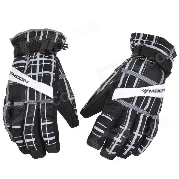 MOON BH-102 Outdoor Multi-Function Anti-Slip Skiing Gloves - Black + White (Pair / Size XL)