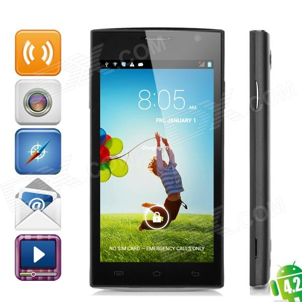 H3038-HEISE MTK6572 Dual-Core Android 4.2.2 WCDMA GSM Phone w/ 4.5, 512MB RAM, 4GB ROM - Black zopo zp1000 android 4 2 octa core wcdma bar phone w 5 0 screen wi fi and rom 16gb blue black