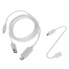 1080P Micro 11pins USB & Micro 5pins USB MHL Cable Kit to HDMI Media Adapter for Smartphone - White