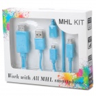 1080P Micro 11pins USB & Micro 5pins USB MHL Cable Kit to HDMI Media Adapter for Smartphone - Blue
