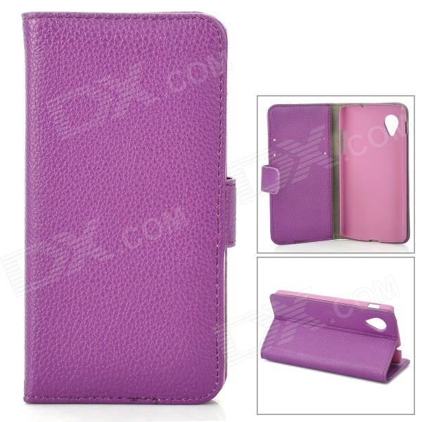 Lychee Grain Style Protective PU Leather Case for Google Nexus 5 - Purple bp a lychee grain style protective pu leather plastic case for google nexus 5 lg e980 black