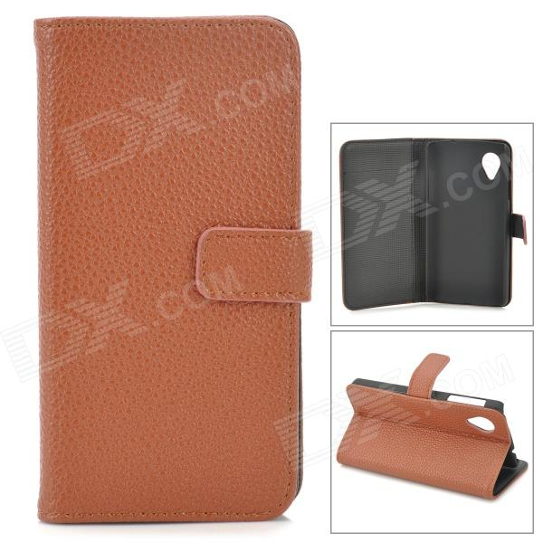 Lychee Grain Style Protective PU Leather Case w/ Card Holder Slots for Google Nexus 5 - Brown bp a lychee grain style protective pu leather plastic case for google nexus 5 lg e980 black