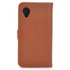 Lychee Grain Style Protective PU Leather Case w/ Card Holder Slots for Google Nexus 5 - Brown