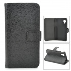 Lychee Grain Style Protective PU Leather Case w/ Card Holder Slots for LG Nexus 5 - Black