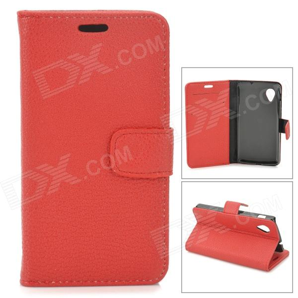 Lychee Grain Style Protective PU Leather Case for Google Nexus 5 - Red bp a lychee grain style protective pu leather plastic case for google nexus 5 lg e980 black