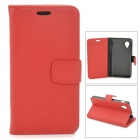Lychee Grain Style Protective PU Leather Case for Google Nexus 5 - Red