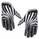 Qepae 7511 Zebra Skin Pattern Cycling Anti-Slip Full-Finger Gloves - Black + White (Size XL)