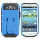 Protective TPU + PC Back Case w/ Stand for Samsung i9300 - Blue