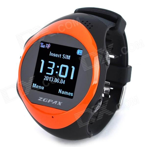 ZGPAX PG88 GSM Watch Phone w/ 1.44 LCD Screen, Quad-Band, GPS Positioning and SOS - Black + Orange waveshare phone shield gsm gprs gps module for arduino stm32 support quad band 850 900 1800 1900mhz