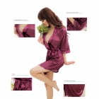 Sexy Silk Nightdress + T-back for Women - Purple