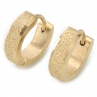SHIYING G4EC73D733D092 Fashion Men's 361L Stainless Steel + 24K Gold Earrings - Golden (Pair)